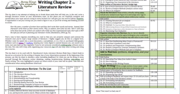 Guidesheet For The Dissertation Lit Review Dissertation Thesis