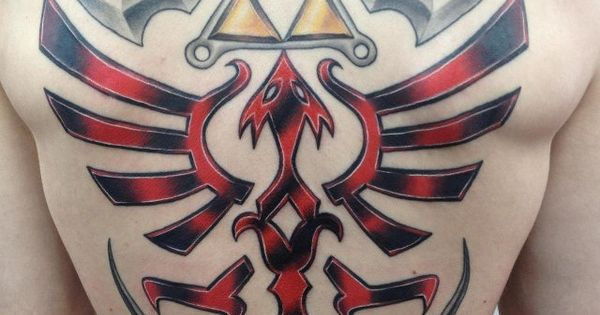 "A full-back Zelda ""Hylian Shield"" tattoo. That's a bit much, even for"
