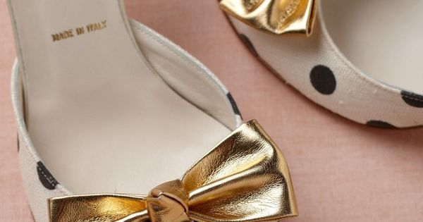 BHLDN brings us some polka dot heels with gold bows