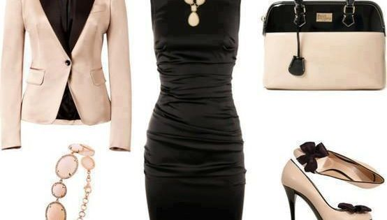 little black dress and nude jacket and shoes