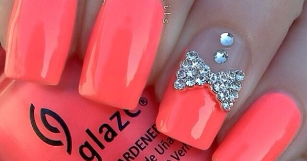 neon pink nails with diamond bow design | Nails ...
