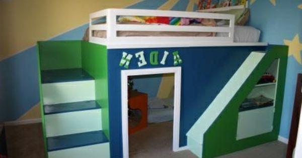 Hochbett für kinder   blau und grün   hochbett mit rutsche – spaß ...