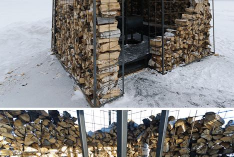 Woodpile Cabin Log Lined Fire Pit Four Season