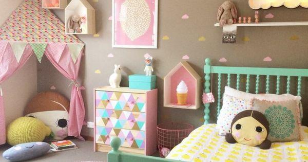 Mädchenzimmer Gestalten Dekorieren Grünes Bett Farbige Wände | Kinder |  Pinterest | Farbige Wände, Mädchenzimmer Und Farbig