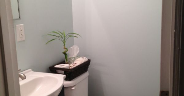 Small Bathroom In Blue Quot Glass Slipper Quot By Benjamin Moore