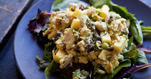 Curried turkey salad with apple, raisins or dried cranberries, green ...