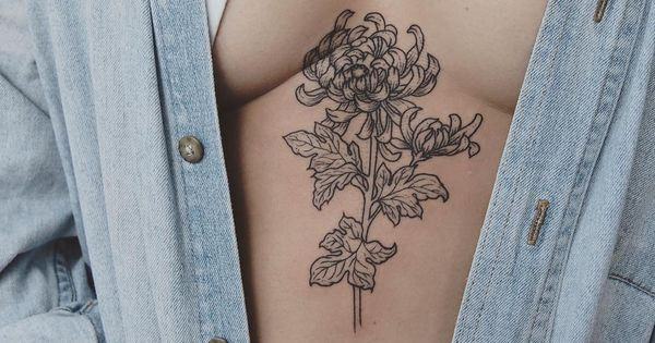 Chrysanthemum stem on the solar plexus tattoo people for Solar plexus tattoo