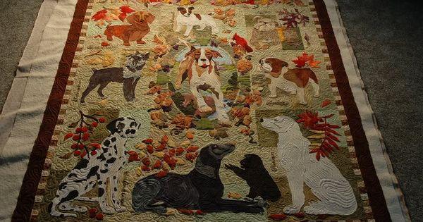 Truly Amazing Work Summer S End Dog Appliqu 233 Quilt