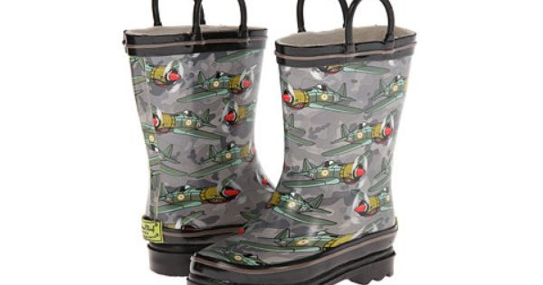 Fighter Plane Western Chief Kids Printed Rain Boots