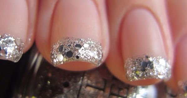 silver glitter tips