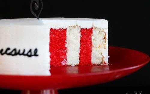 Vertical layer cake tutorial stripe cake baking technique
