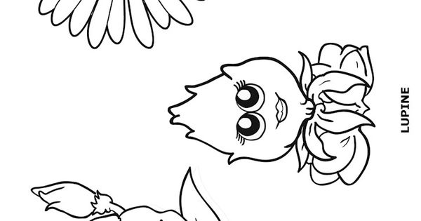 lupe the lupine coloring page - flower friends coloring page or make stick puppets with