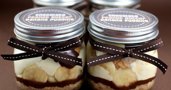 Chocolate Peanut Butter Banana Pudding in jars dessert recipe