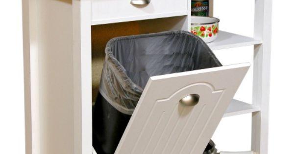 Butcher Block Kitchen Cart With Trash Bin : Venture Horizon Butcher Block Top Kitchen Cart with Trash Bin - Kitchen Islands and Carts at ...