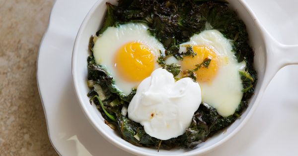 Skillet-Baked Eggs With Spinach, Yogurt, And Spiced Butter Recipe ...
