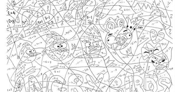 Angry Birds Negative Numbers Calculated Colouring Negative Numbers Math Coloring Angry Birds