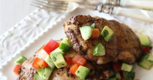 Spicy Chicken Thighs With Cucumber Avocado Salsa | Manger | Pinterest ...