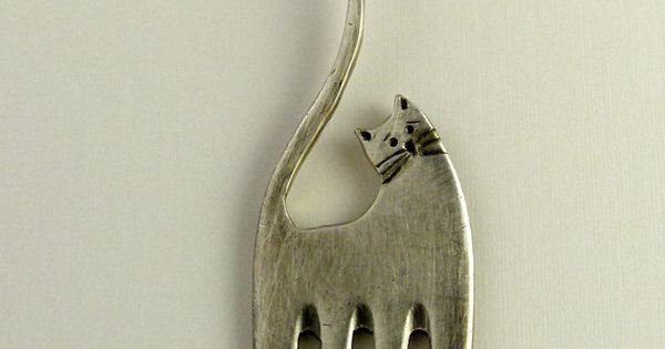 Fork cat... Up cycled sterling plated fork and up cycled sterling ...