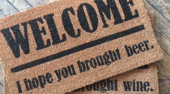 Beer lovers welcome i hope you brought beer door mat for Wine cork welcome mat