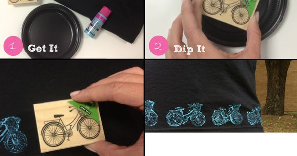 DIY Stamped Shirt using a stamp and fabric paint! Love it!