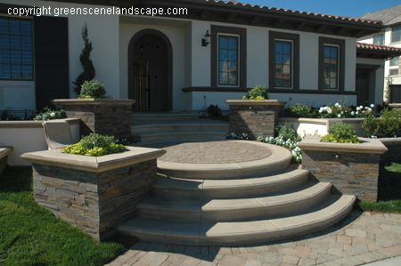 Endearing Front Entry Stairs Design Ideas Download Front Entrance   Home Front Stairs Design   Porch Attached Horizontal Staircase Tower   Parapet Wall   Sitout Step   Front Window   Interior