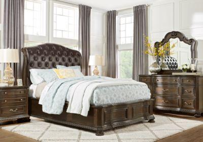 Whittington Cherry 5 Pc King Sleigh Bedroom Bedroom Sets Dark