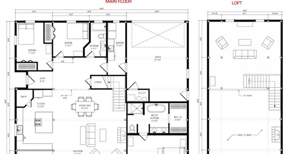 24x52 floor plan pre designed great plains gambrel barn for Pre designed home plans