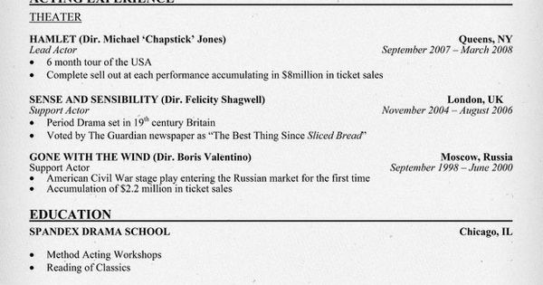 Theater Acting Resume Example (resumecompanion) Acting
