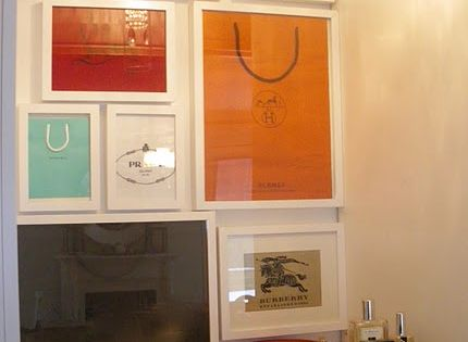 Neat for a vanity area. DIY wall art of framed shopping bags