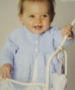 "Baby round /& V neck cardigans in 4 ply Knitting Pattern Vintage fits 18-22/"""