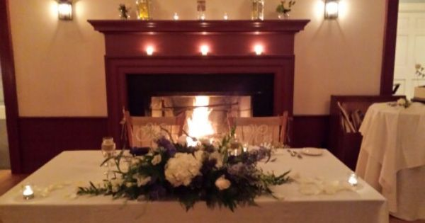 Old Sturbridge Village Wedding Reception Oliver Wight Tavern Sweetheart Table Fall Winter F Candles In Fireplace Sweetheart Table Wedding Reception
