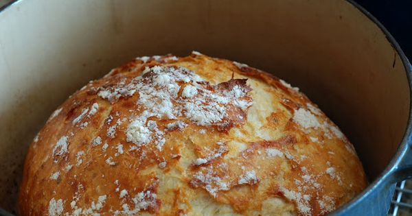 No knead bread in a Le Creuset Dutch Oven. Basic recipe plus