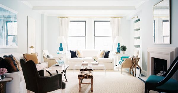 Cool, serene living room with touches of sparkling gold | design by Lilly Bunn Weekes