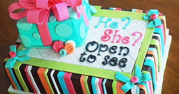 Baby gender reveal cake. such a cute idea for baby shower
