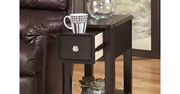 It S On Amazon Modern Narrow Nightstand Rectangle Wooden Black Chair Side End Table With Single Stor Chair Side Table Ashley Furniture Living Room End Tables