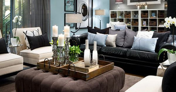 Living Room Decorating Ideas Black Leather Couch Ottomans Living Room Co