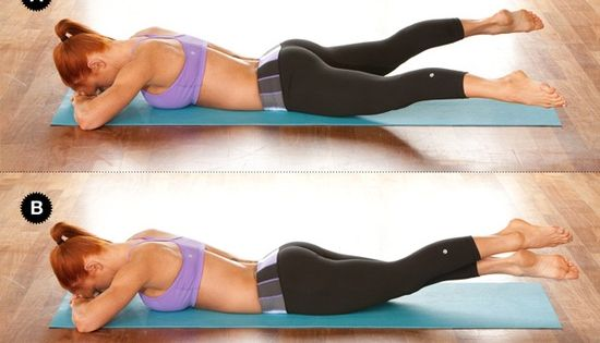 Crunchless Abs Fast - Leg Beat: Lie facedown with legs together; make