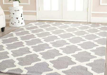 Moroccan Rug. Grey and white. LOVE the Trellis pattern!!