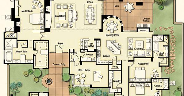 Tucson custom home hacienda floor plan tucson for Tucson house plans