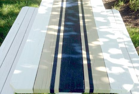 Pretty outdoor table Home Made Modern: Painted French Linen Table Runner