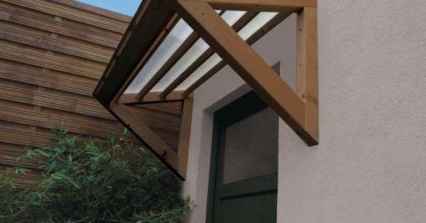 Auvent de porte 3d marquise bois et polycarbonate cour for Porte de cour