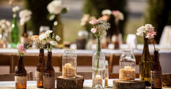 Rustic Wedding Table Displays... The post may have other ideas that are