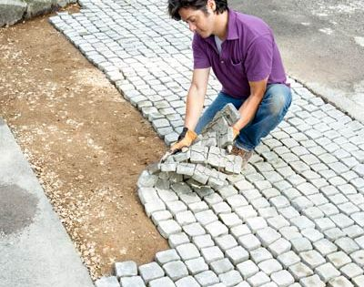 Loooove this idea!! Paver mats to give your house old world charm!