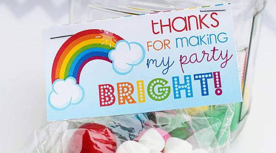 Rainbow Pretty Party Bag Toppers Rainbow Theme by JWIllustrations, $5.00