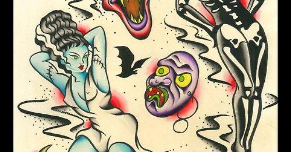 Halloween tattoo flash art / crescent moon, skeleton pinup ...  Halloween tatto...