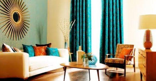 Beautiful Color Combo Blue Orange Living Room Orange Teal Living Rooms Curtains Living Room