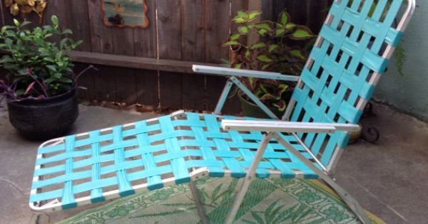 60 39 s aluminum lawn chair turquoise webbed folding chaise for Aluminum web chaise lounge