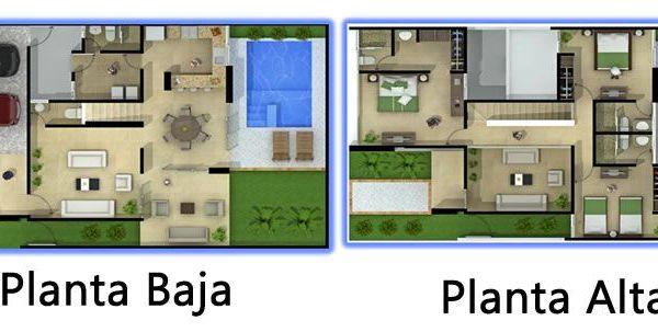 Plano de casa de con jardin y piscina floor plans for Planos de casas con piscina