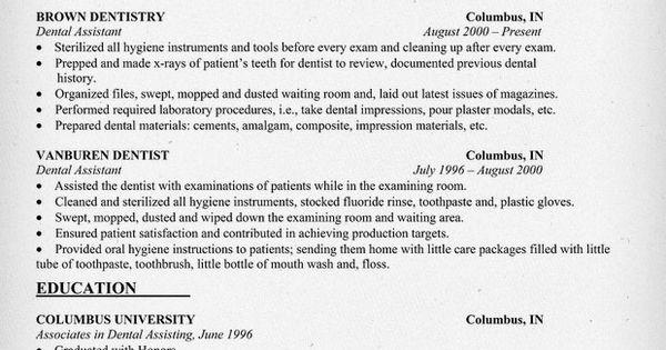 Dental Assistant Resume #dentist #health (resumecompanion.com)