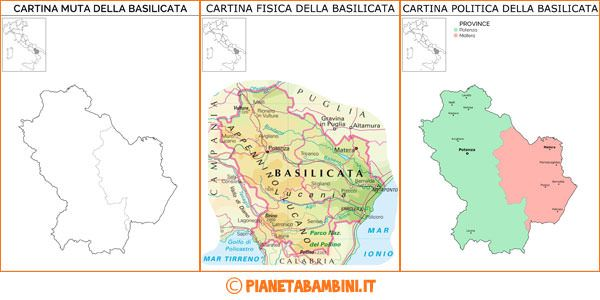 Cartina Stradale Basilicata Puglia.Cartina Muta Fisica E Politica Della Basilicata Da Stampare